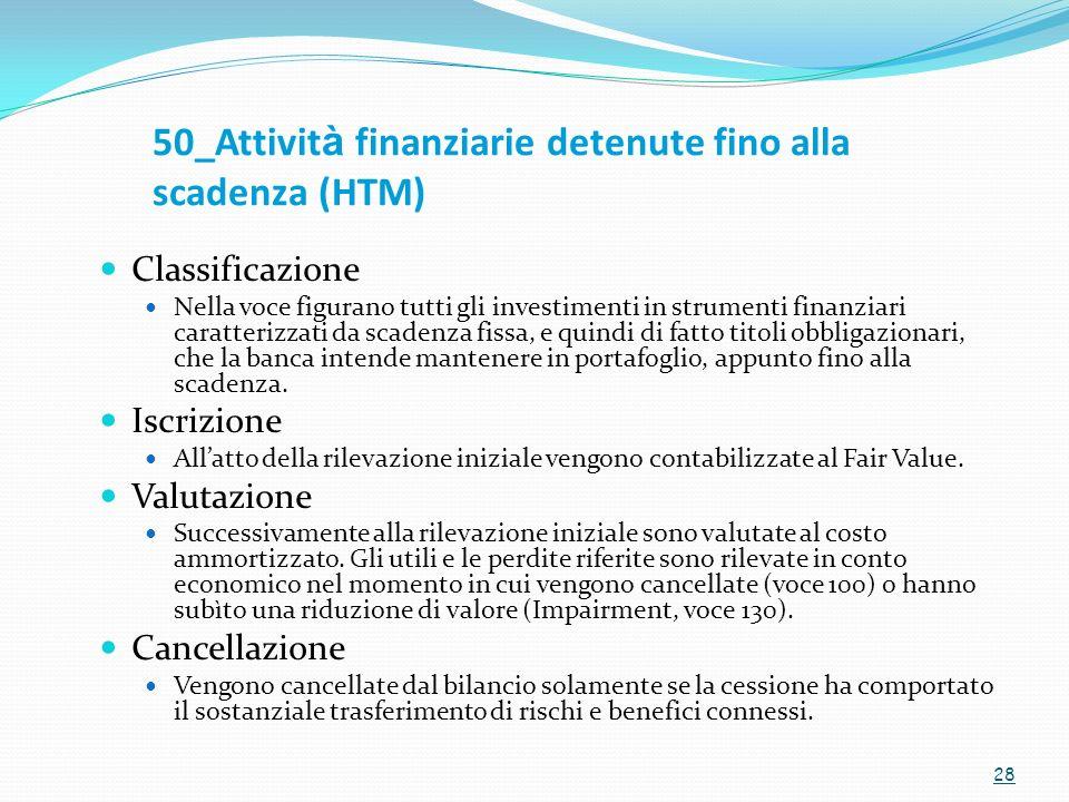 50_Attivit à finanziarie detenute fino alla scadenza (HTM) Classificazione Nella voce figurano tutti gli investimenti in strumenti finanziari caratter