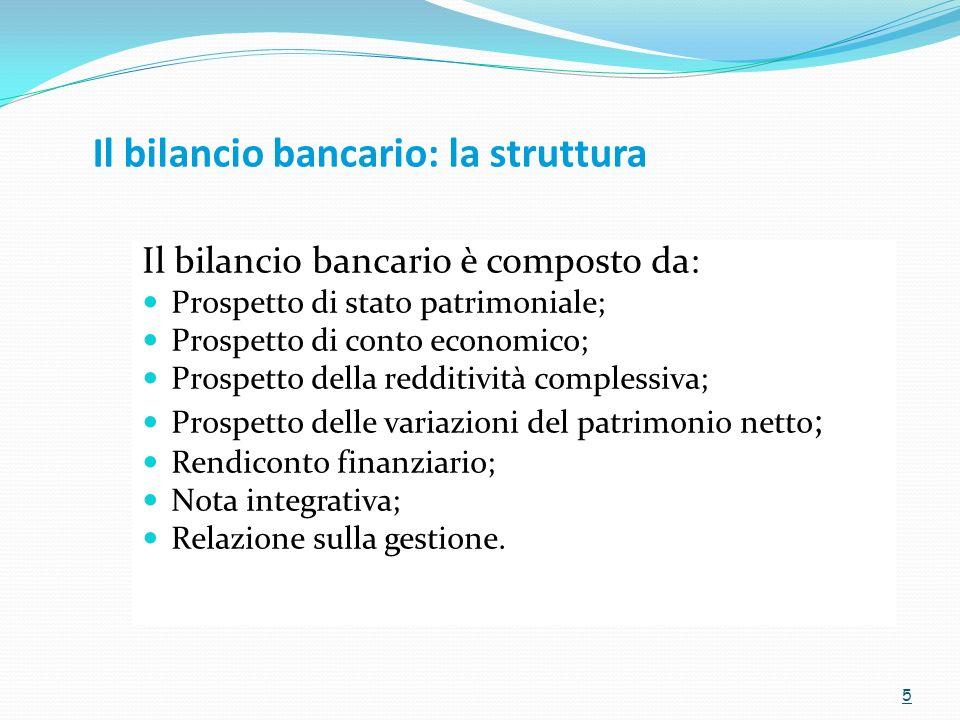 Il bilancio bancario: la struttura Il bilancio bancario è composto da: Prospetto di stato patrimoniale; Prospetto di conto economico; Prospetto della redditività complessiva; Prospetto delle variazioni del patrimonio netto ; Rendiconto finanziario; Nota integrativa; Relazione sulla gestione.