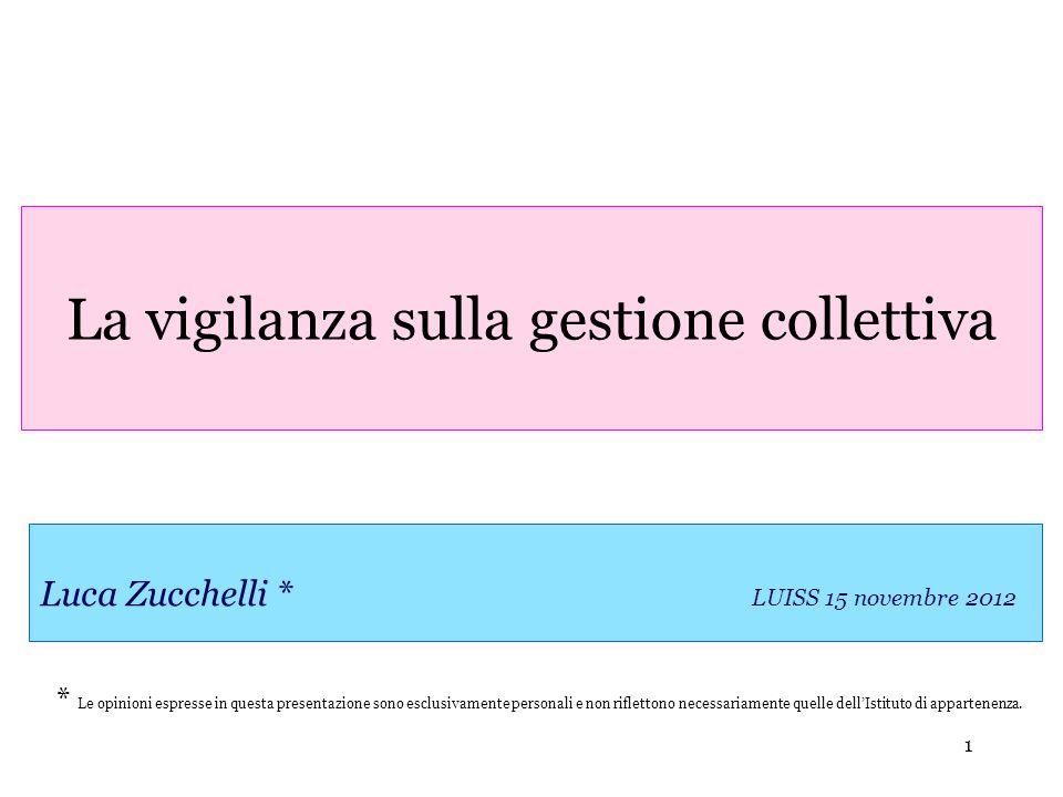 1 Luca Zucchelli * LUISS 15 novembre 2012 La vigilanza sulla gestione collettiva * Le opinioni espresse in questa presentazione sono esclusivamente pe