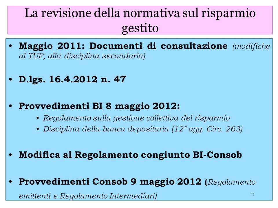 11 La revisione della normativa sul risparmio gestito Maggio 2011: Documenti di consultazione (modifiche al TUF; alla disciplina secondaria) D.lgs. 16