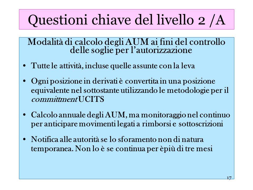 17 Questioni chiave del livello 2 /A Modalità di calcolo degli AUM ai fini del controllo delle soglie per lautorizzazione Tutte le attività, incluse q