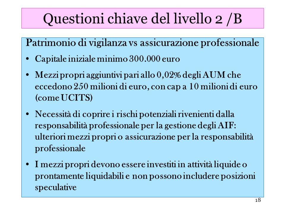 18 Questioni chiave del livello 2 /B Patrimonio di vigilanza vs assicurazione professionale Capitale iniziale minimo 300.000 euro Mezzi propri aggiunt