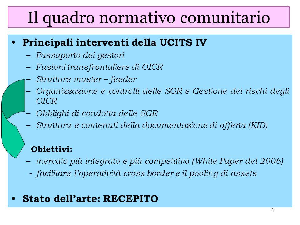 6 Il quadro normativo comunitario Principali interventi della UCITS IV – Passaporto dei gestori – Fusioni transfrontaliere di OICR – Strutture master