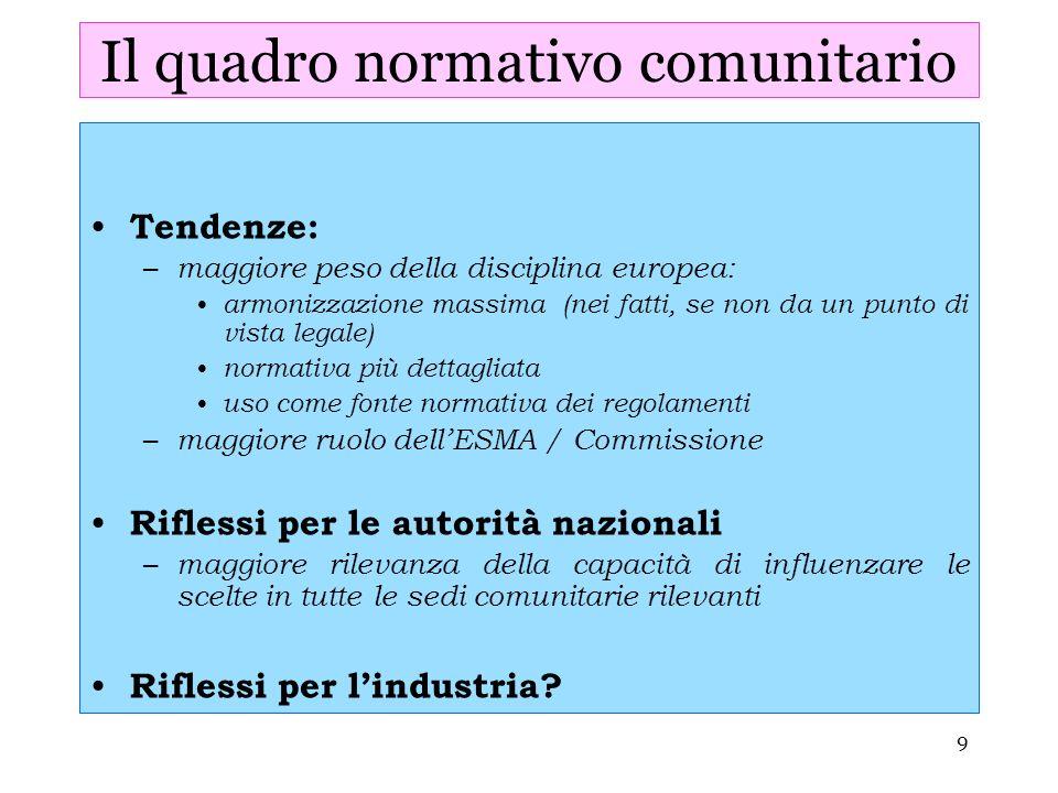 9 Il quadro normativo comunitario Tendenze: – maggiore peso della disciplina europea: armonizzazione massima (nei fatti, se non da un punto di vista l