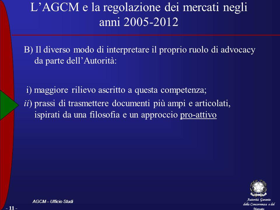 Autorità Garante della Concorrenza e del Mercato AGCM – Ufficio Studi LAGCM e la regolazione dei mercati negli anni 2005-2012 B) Il diverso modo di in