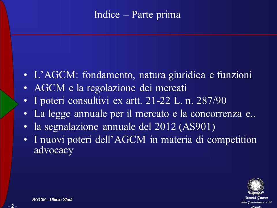 Autorità Garante della Concorrenza e del Mercato AGCM – Ufficio Studi - 2 - Indice – Parte prima LAGCM: fondamento, natura giuridica e funzioni AGCM e