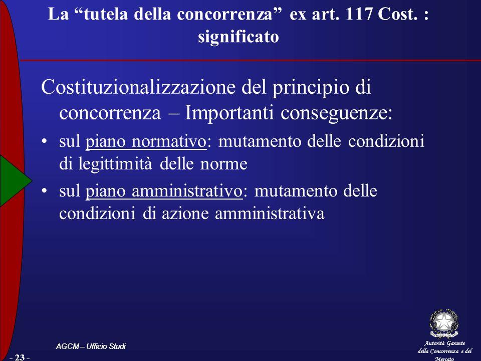 Autorità Garante della Concorrenza e del Mercato AGCM – Ufficio Studi La tutela della concorrenza ex art. 117 Cost. : significato Costituzionalizzazio
