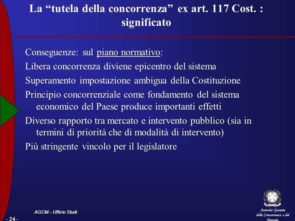 Autorità Garante della Concorrenza e del Mercato AGCM – Ufficio Studi La tutela della concorrenza ex art. 117 Cost. : significato Conseguenze: sul pia