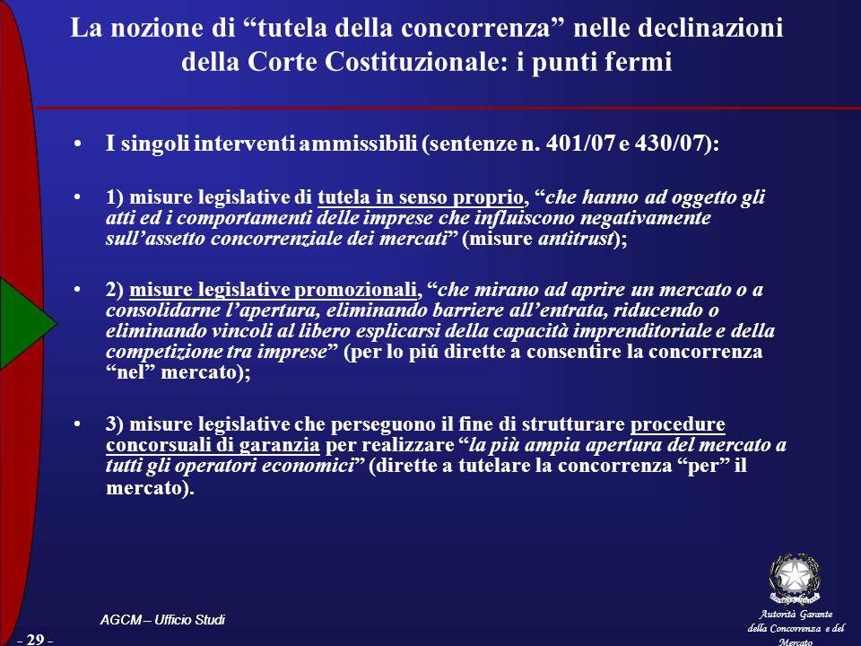 Autorità Garante della Concorrenza e del Mercato AGCM – Ufficio Studi - 29 - La nozione di tutela della concorrenza nelle declinazioni della Corte Cos
