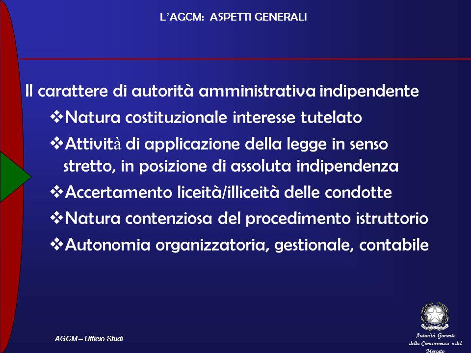 Autorità Garante della Concorrenza e del Mercato AGCM – Ufficio Studi L AGCM: ASPETTI GENERALI Il carattere di autorità amministrativa indipendente Na