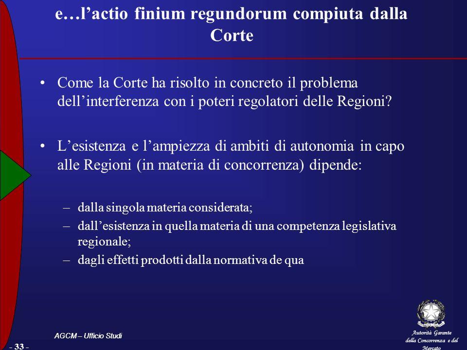 Autorità Garante della Concorrenza e del Mercato AGCM – Ufficio Studi - 33 - e…lactio finium regundorum compiuta dalla Corte Come la Corte ha risolto in concreto il problema dellinterferenza con i poteri regolatori delle Regioni.