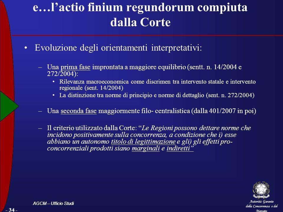 Autorità Garante della Concorrenza e del Mercato AGCM – Ufficio Studi - 34 - e…lactio finium regundorum compiuta dalla Corte Evoluzione degli orientamenti interpretativi: –Una prima fase improntata a maggiore equilibrio (sentt.