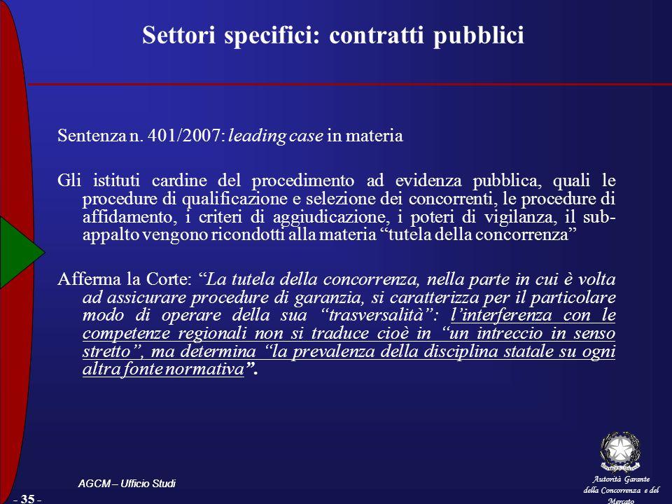 Autorità Garante della Concorrenza e del Mercato AGCM – Ufficio Studi - 35 - Settori specifici: contratti pubblici Sentenza n. 401/2007: leading case