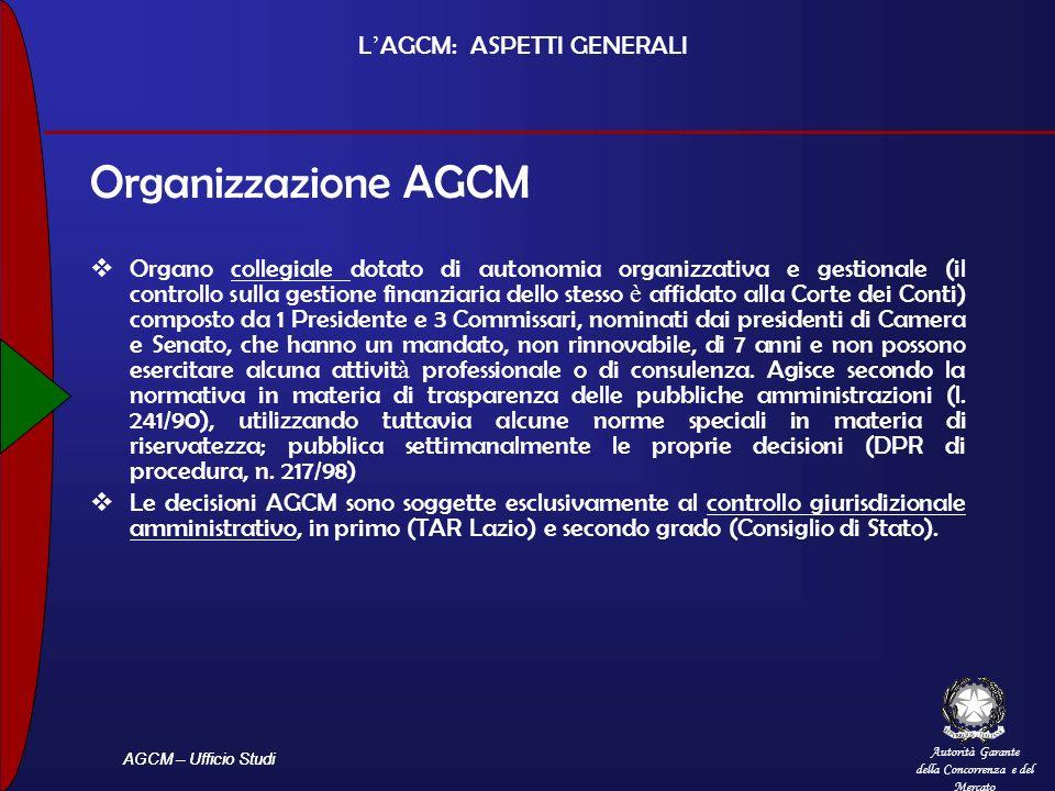 Autorità Garante della Concorrenza e del Mercato AGCM – Ufficio Studi L AGCM: ASPETTI GENERALI Organizzazione AGCM Organo collegiale dotato di autonom