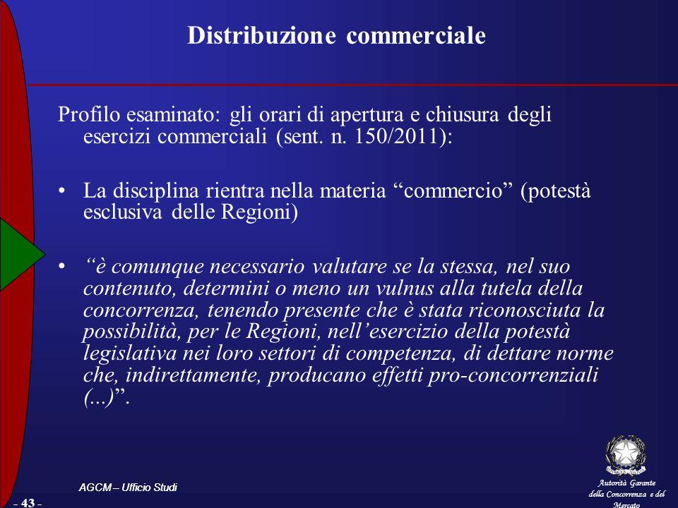 Autorità Garante della Concorrenza e del Mercato AGCM – Ufficio Studi - 43 - Distribuzione commerciale Profilo esaminato: gli orari di apertura e chiusura degli esercizi commerciali (sent.