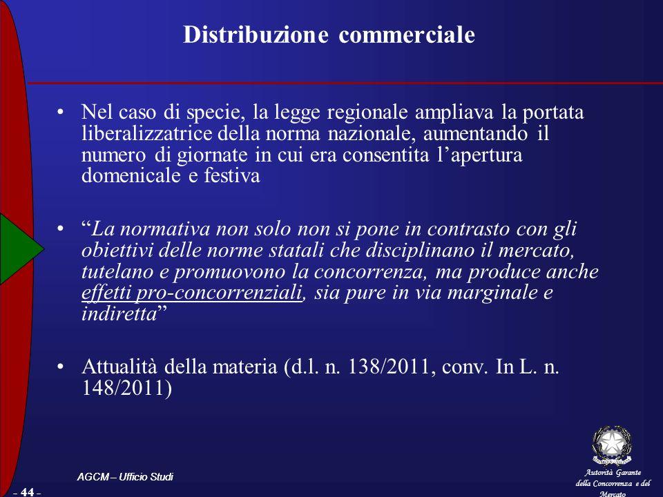 Autorità Garante della Concorrenza e del Mercato AGCM – Ufficio Studi - 44 - Distribuzione commerciale Nel caso di specie, la legge regionale ampliava