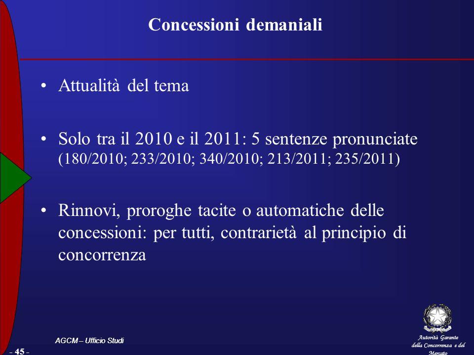 Autorità Garante della Concorrenza e del Mercato AGCM – Ufficio Studi - 45 - Concessioni demaniali Attualità del tema Solo tra il 2010 e il 2011: 5 se