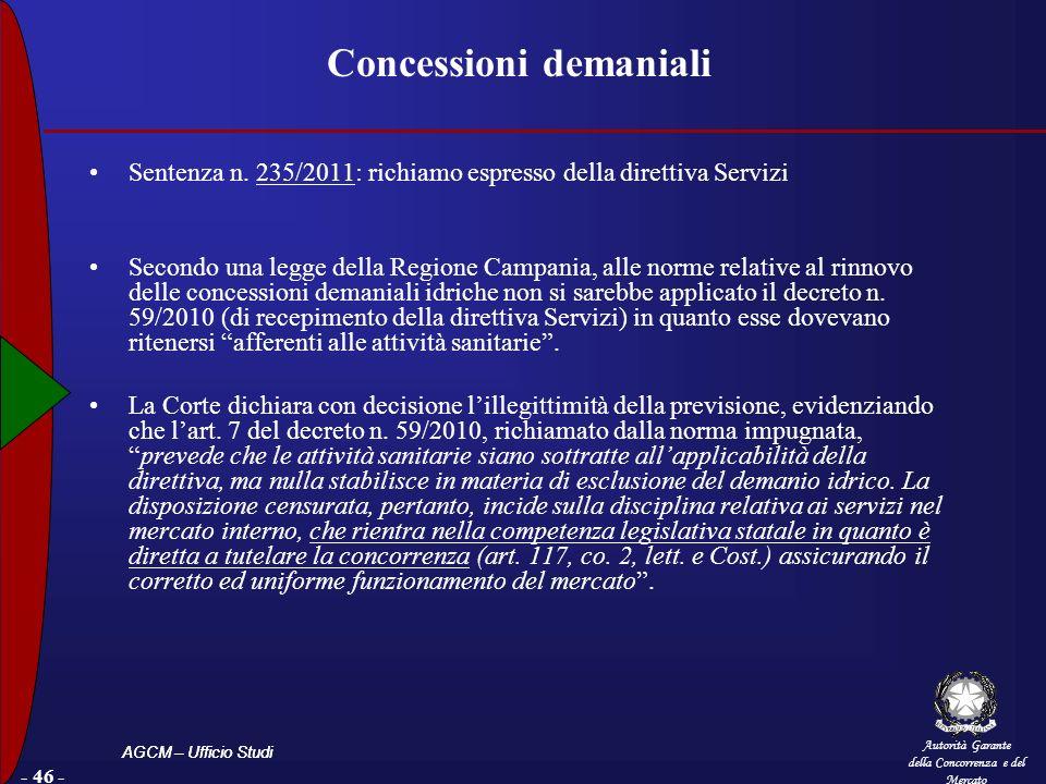Autorità Garante della Concorrenza e del Mercato AGCM – Ufficio Studi - 46 - Concessioni demaniali Sentenza n. 235/2011: richiamo espresso della diret