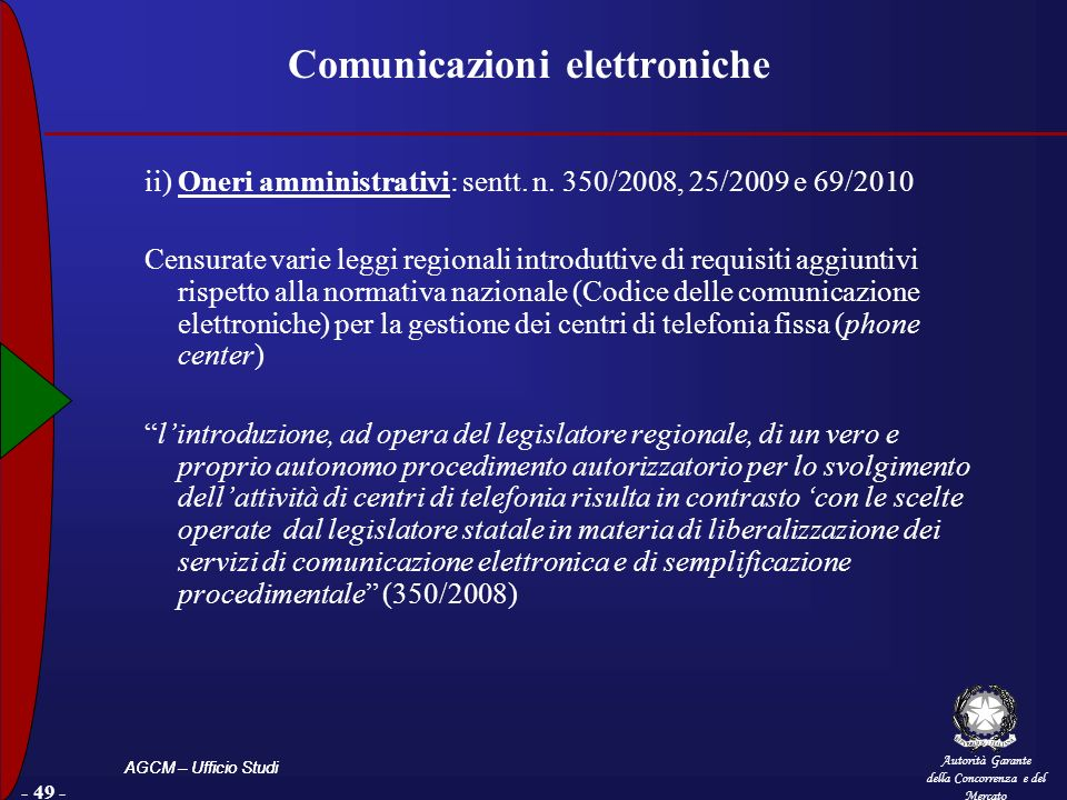 Autorità Garante della Concorrenza e del Mercato AGCM – Ufficio Studi - 49 - Comunicazioni elettroniche ii) Oneri amministrativi: sentt. n. 350/2008,