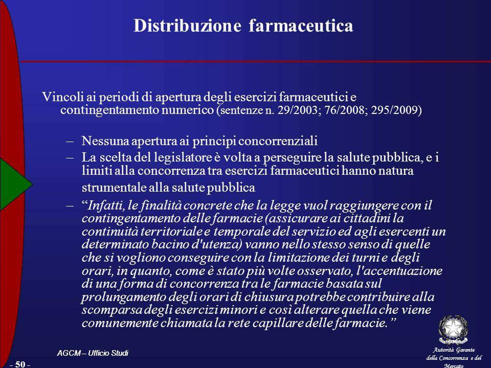 Autorità Garante della Concorrenza e del Mercato AGCM – Ufficio Studi - 50 - Distribuzione farmaceutica Vincoli ai periodi di apertura degli esercizi