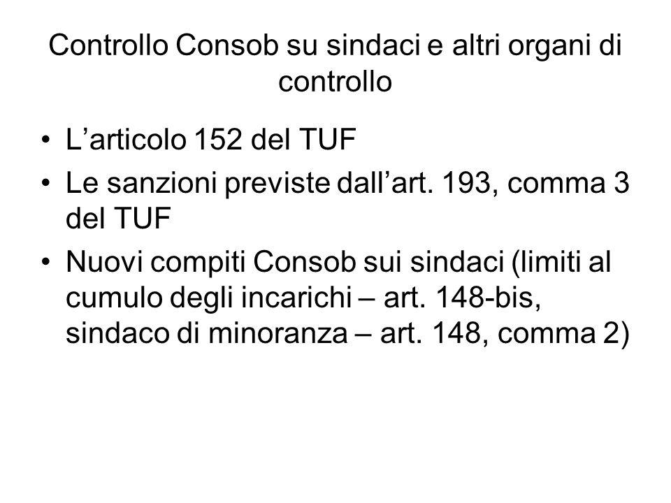 Controllo Consob su sindaci e altri organi di controllo Larticolo 152 del TUF Le sanzioni previste dallart. 193, comma 3 del TUF Nuovi compiti Consob