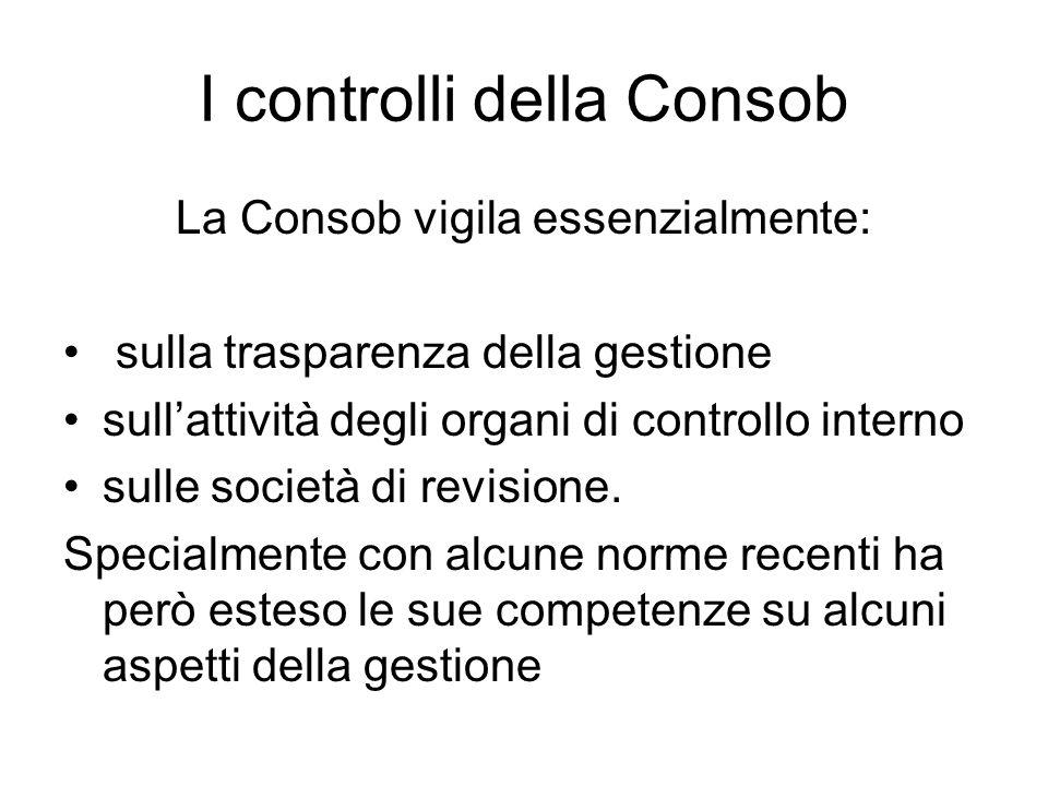 I controlli della Consob La Consob vigila essenzialmente: sulla trasparenza della gestione sullattività degli organi di controllo interno sulle societ