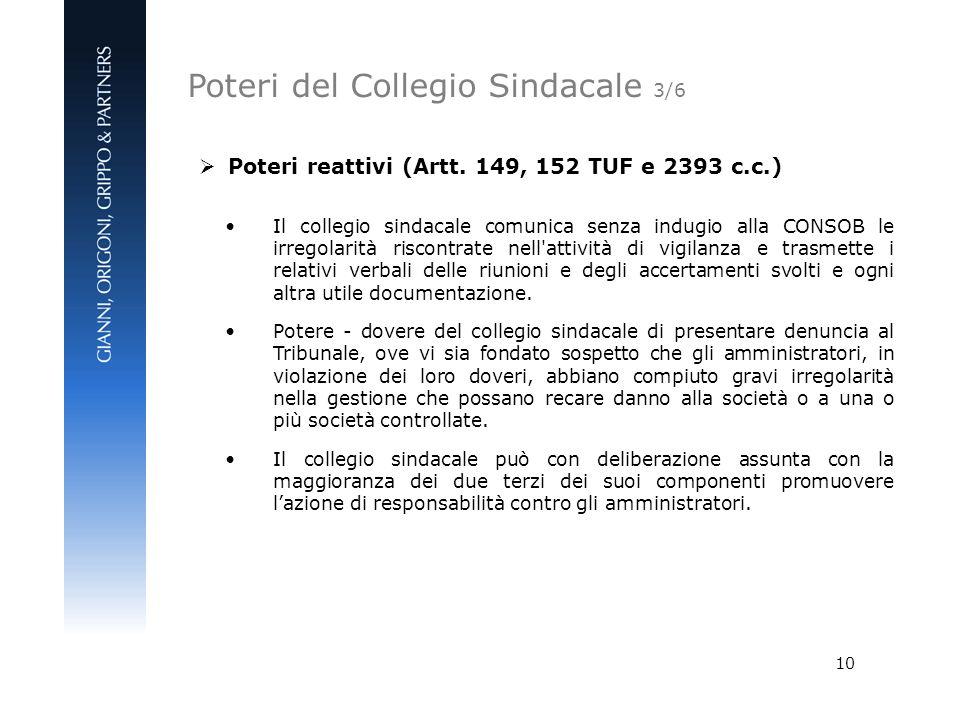 10 Poteri reattivi (Artt. 149, 152 TUF e 2393 c.c.) Il collegio sindacale comunica senza indugio alla CONSOB le irregolarità riscontrate nell'attività