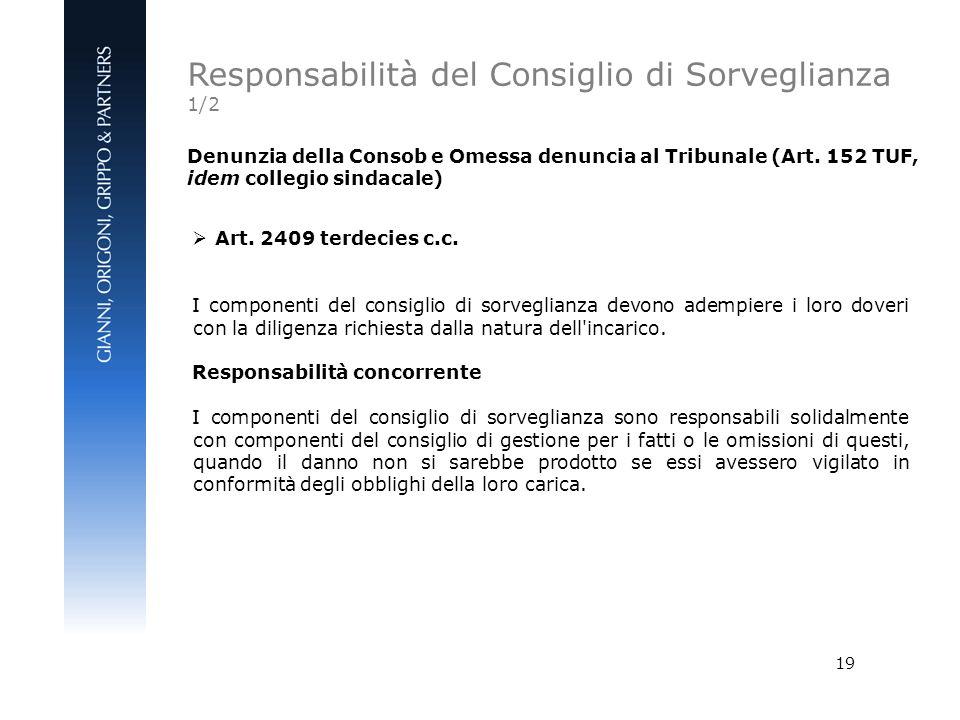 19 Denunzia della Consob e Omessa denuncia al Tribunale (Art. 152 TUF, idem collegio sindacale) Art. 2409 terdecies c.c. I componenti del consiglio di