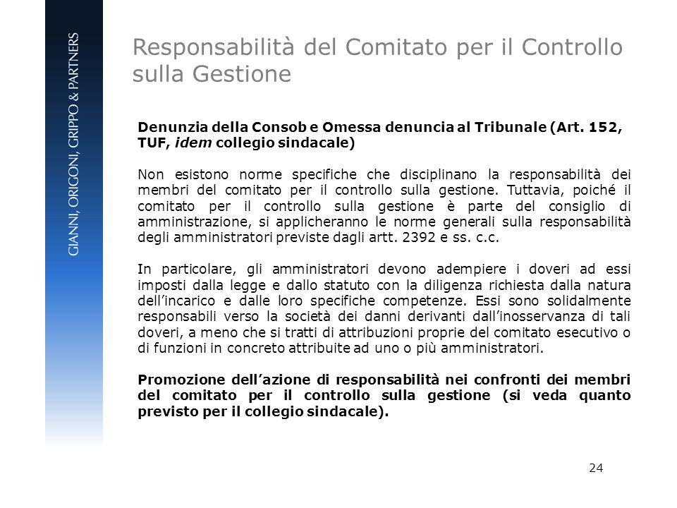 24 Denunzia della Consob e Omessa denuncia al Tribunale (Art. 152, TUF, idem collegio sindacale) Non esistono norme specifiche che disciplinano la res