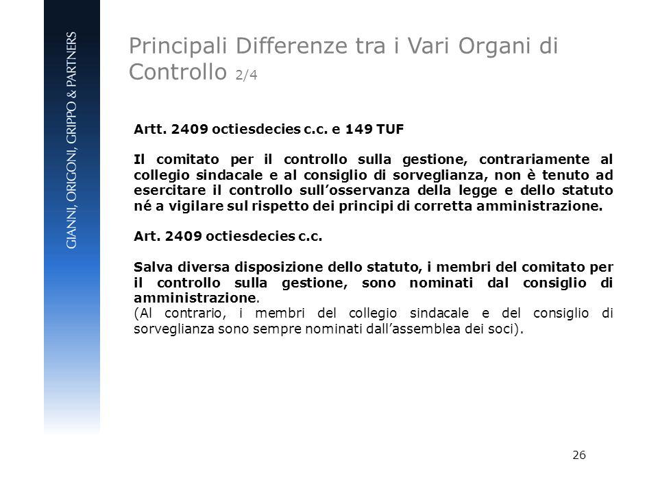 26 Artt. 2409 octiesdecies c.c. e 149 TUF Il comitato per il controllo sulla gestione, contrariamente al collegio sindacale e al consiglio di sorvegli