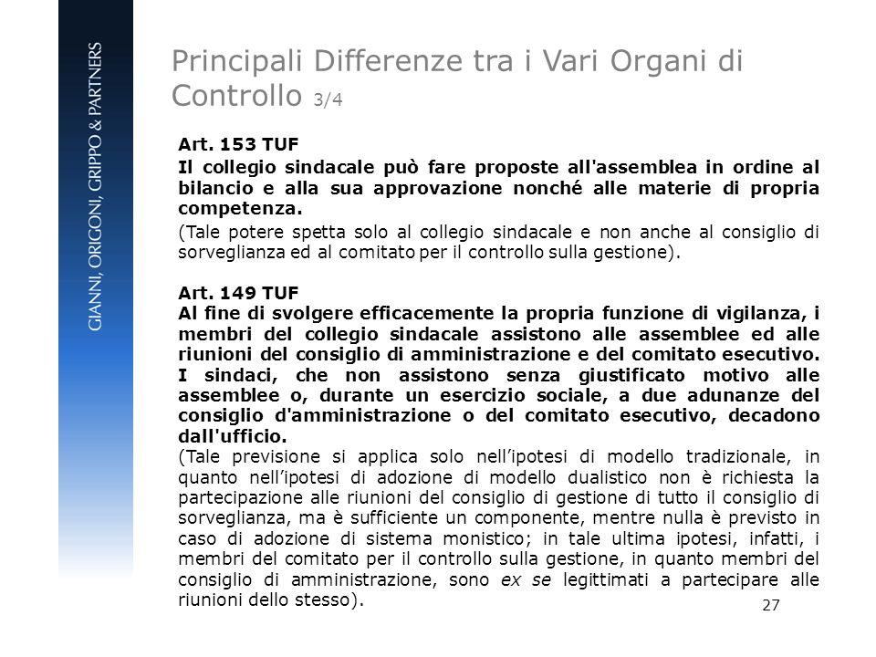 27 Art. 153 TUF Il collegio sindacale può fare proposte all'assemblea in ordine al bilancio e alla sua approvazione nonché alle materie di propria com