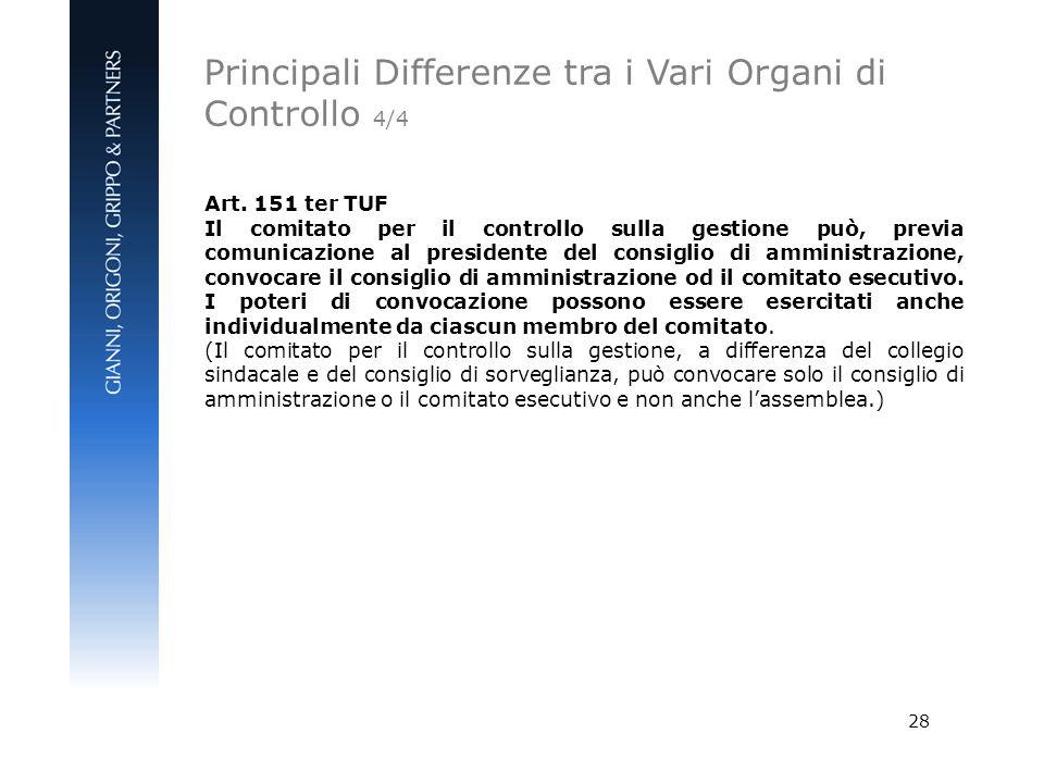 28 Art. 151 ter TUF Il comitato per il controllo sulla gestione può, previa comunicazione al presidente del consiglio di amministrazione, convocare il