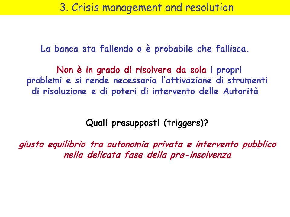 3. Crisis management and resolution La banca sta fallendo o è probabile che fallisca. Non è in grado di risolvere da sola i propri problemi e si rende