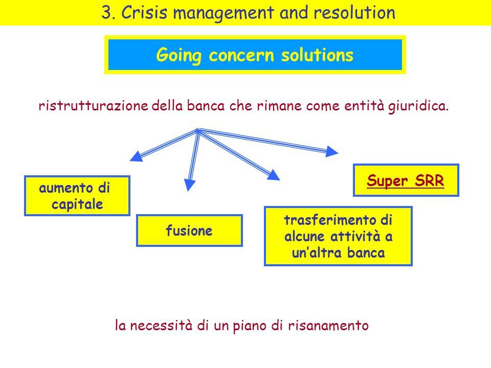 Going concern solutions ristrutturazione della banca che rimane come entità giuridica.