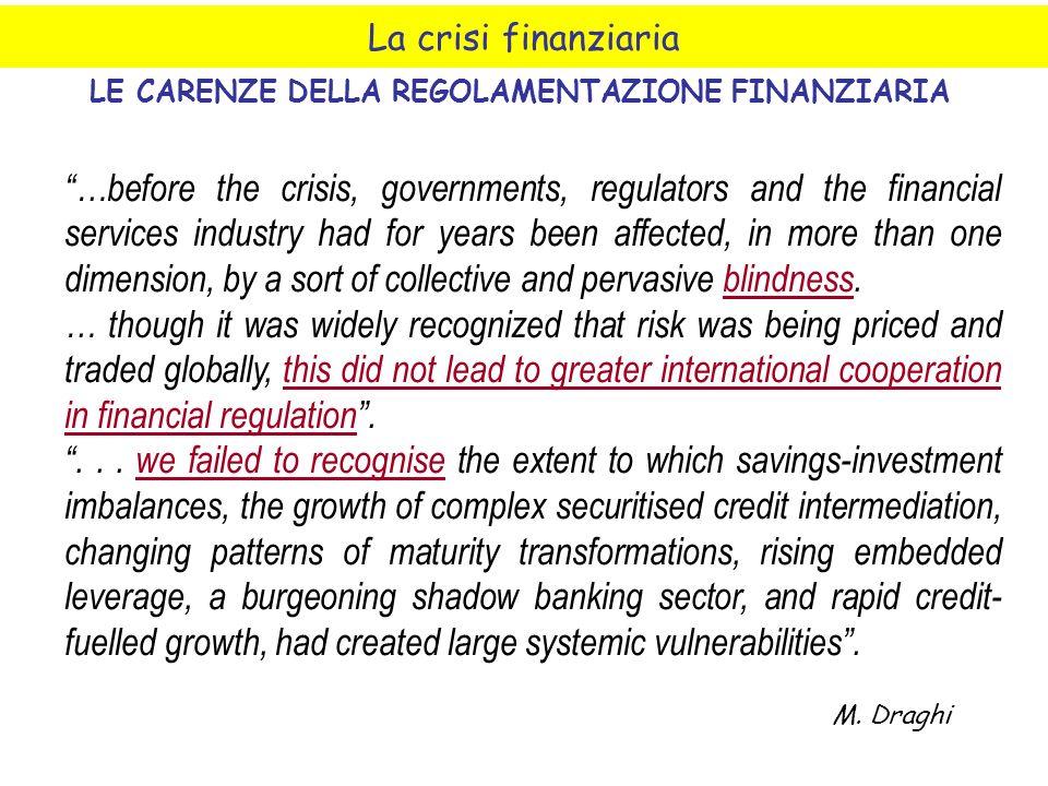 La crisi finanziaria LE CARENZE DELLA REGOLAMENTAZIONE FINANZIARIA …before the crisis, governments, regulators and the financial services industry had