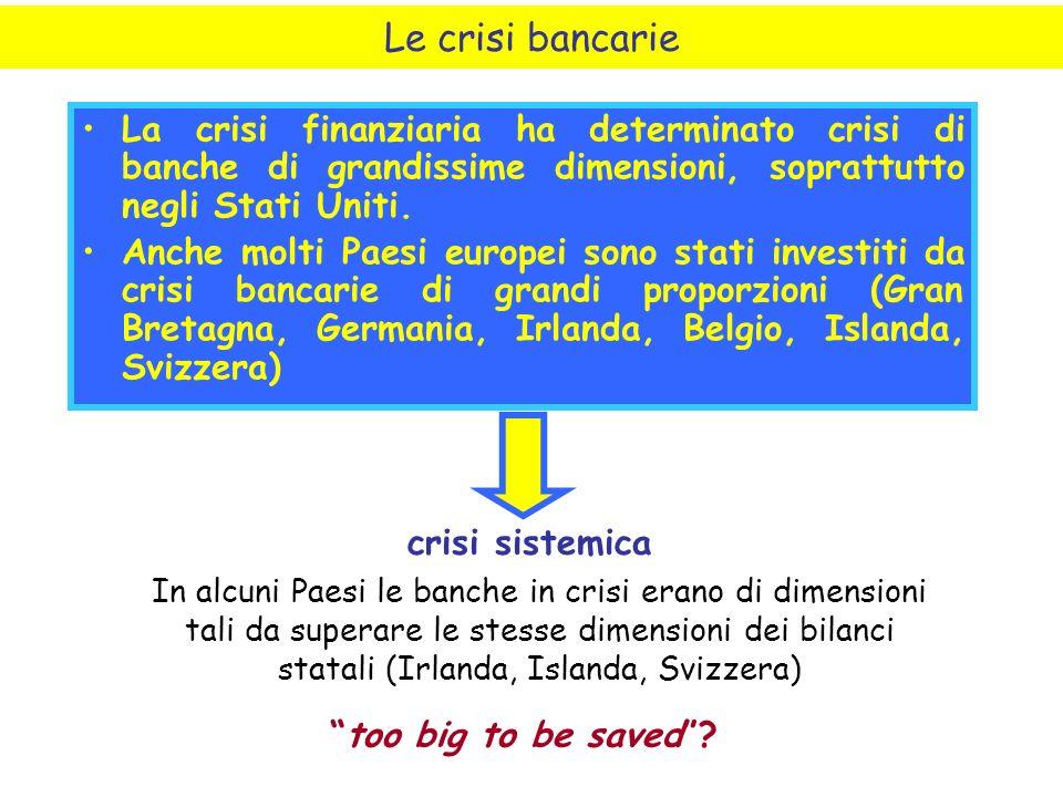 La crisi finanziaria ha determinato crisi di banche di grandissime dimensioni, soprattutto negli Stati Uniti.
