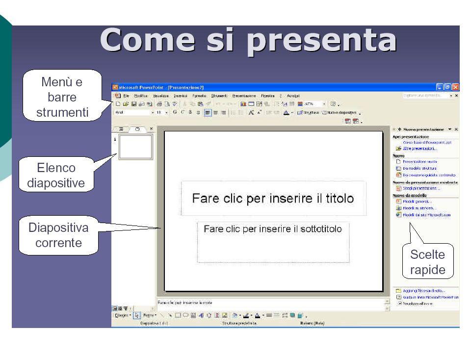 Allavvio del programma compare la seguente finestra di dialogo Che consente : Una creazione guidata Modello struttura Presentazione vuota Aprire una p