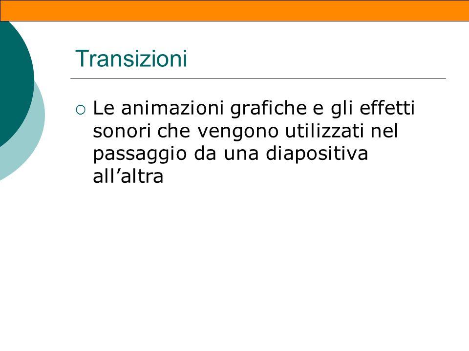 Dissolvenza E possibile applicare animazione alle diapositive gli effetti si chiamano transizioni