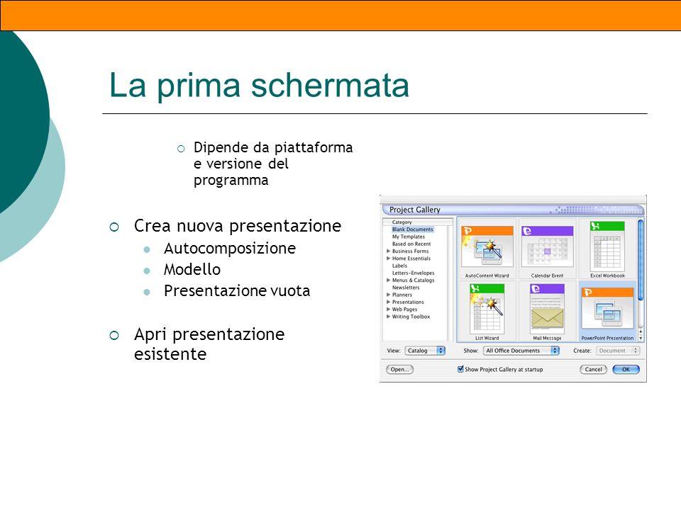 Avviare il programma WIN: Start/Programmi/Microsoft PowerPoint MAC: Cartella Applicazioni, Doppio click sullicona, nel Dock se licona è presente