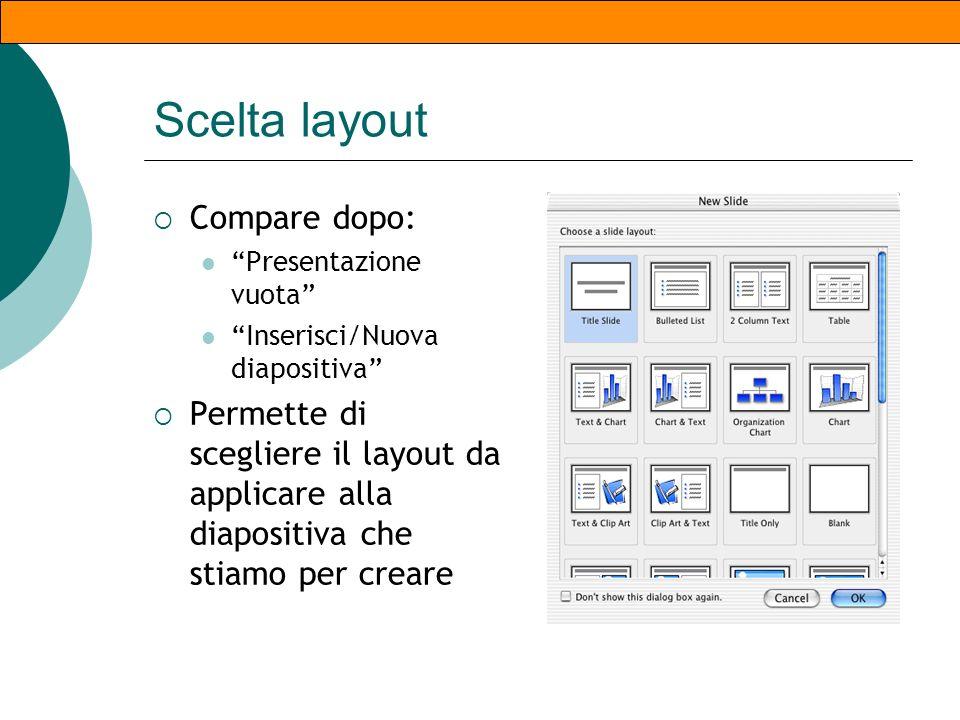 La prima schermata Dipende da piattaforma e versione del programma Crea nuova presentazione Autocomposizione Modello Presentazione vuota Apri presenta