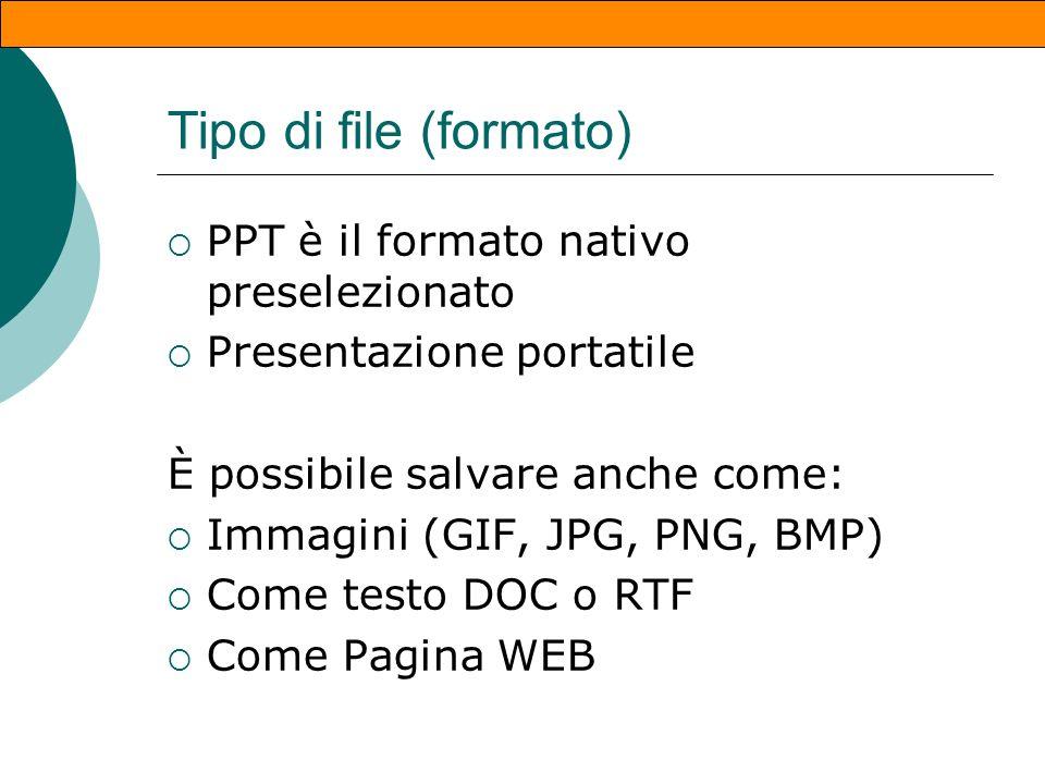Salvare una presentazione Dopo aver aggiunto una o più diapositive: File/Salva File/Salva con nome Assegnare un nome e scegliere una cartella di desti