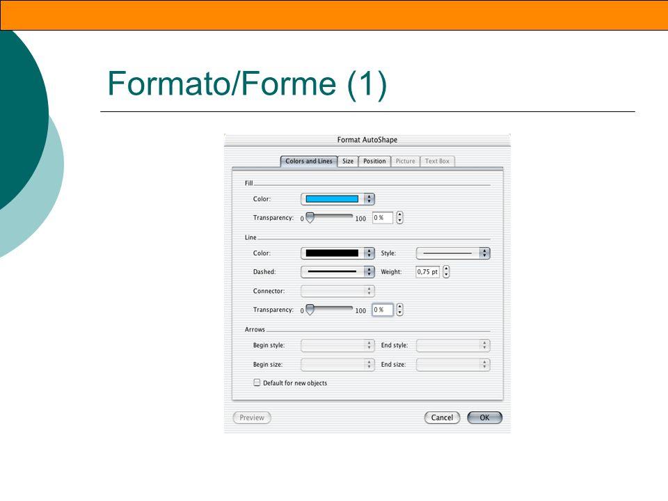 Inserire forme Inserisci/Immagine/f orme Appare la barra relativa alle forme Ogni icona corrisponde ad un menu grafico dal quale scegliere il tipo di