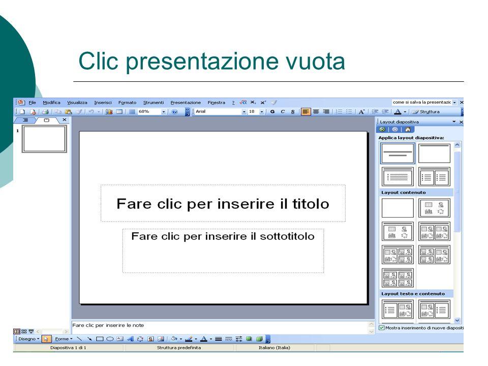 Creare presentazione Dal menù File Nuovo Mediante tastiera Ctrl + N