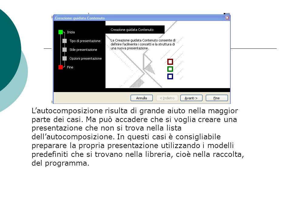 Per scegliere un modello selezionatelo con il mouse e quindi fate clic su Avanti. Il programma avvia la seconda fase, Stile presentazione, in cui pote