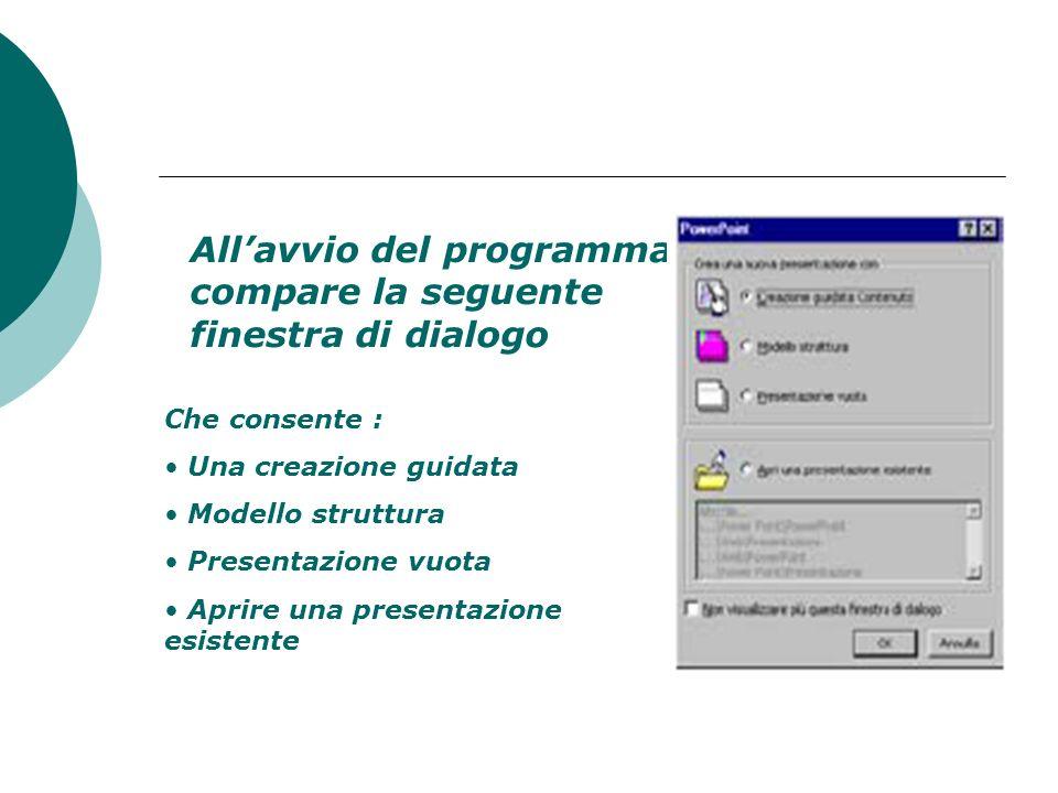 Aprire il programma presentazione Start Programmi Microsoft PowerPoint