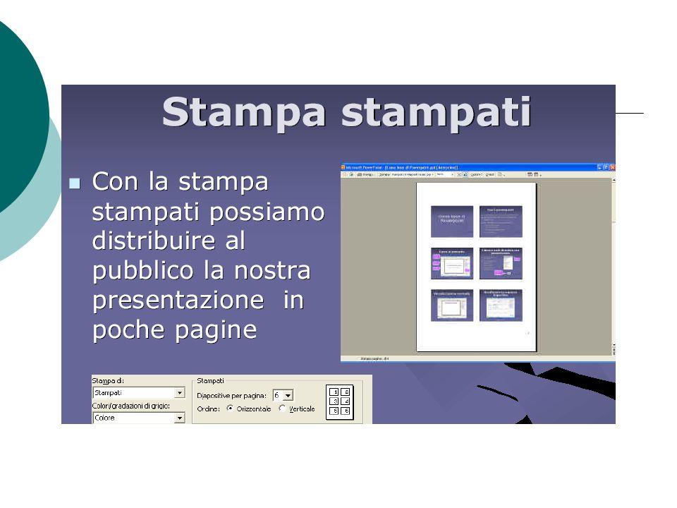 Stampato Stampa di dimensioni ridotte, su supporto cartaceo, delle diapositive Una, due, tre o sei diapositive per pagina