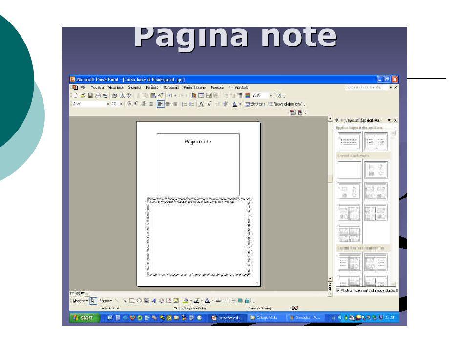 Note del relatore Testo associabile ad una diapositiva, in genere stampato o visibile in fase di presentazione solo dal relatore Promemoria Note Infor