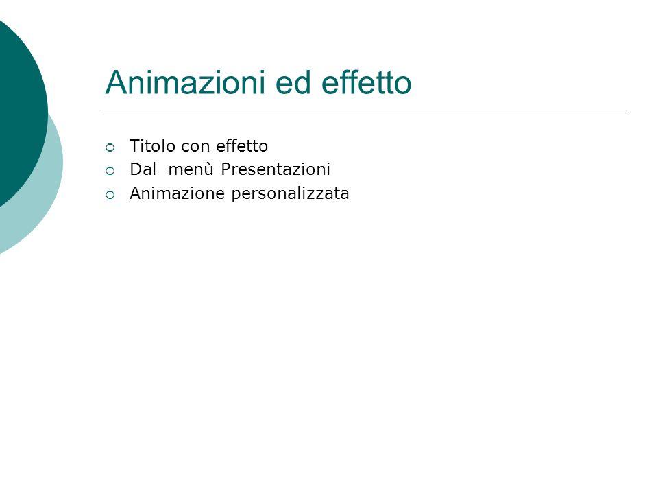 Animazioni ed effetti sonori Tutti gli oggetti presenti possono essere animati Dalla menù Presentazioni clic su Animazione Volendo entrare il testo co