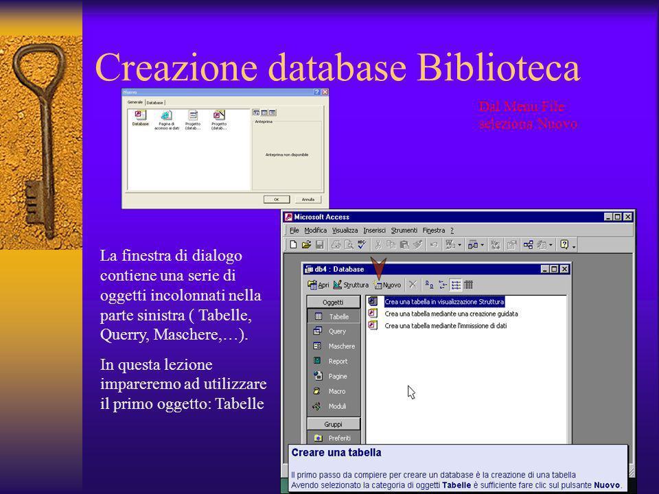 Creazione database Biblioteca Dal Menu File seleziona Nuovo La finestra di dialogo contiene una serie di oggetti incolonnati nella parte sinistra ( Ta