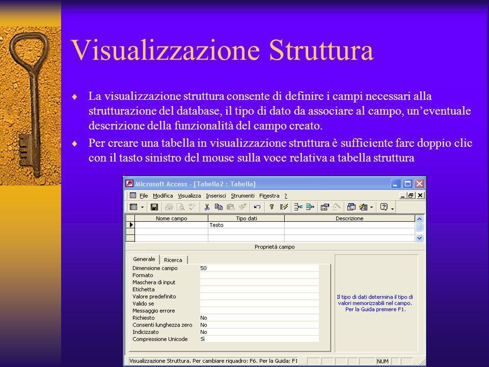 Visualizzazione Struttura La visualizzazione struttura consente di definire i campi necessari alla strutturazione del database, il tipo di dato da ass